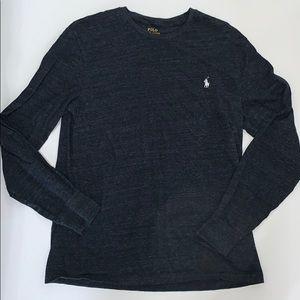 Polo, Men's Long Sleeve Gray Tee Shirt, Medium